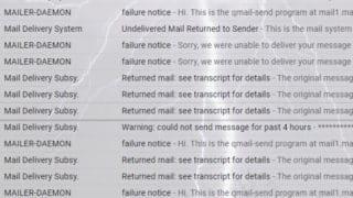 メールの送信エラーがいっぱい?ちょっとマズいかも。